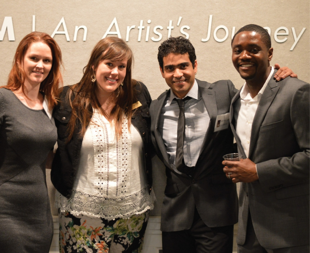 Celebrating the opening night of two exhibits are (left to right) Shannon Williams; Liz Miller, curator; Reynier Llanes, artist; and Charles Williams, artist.