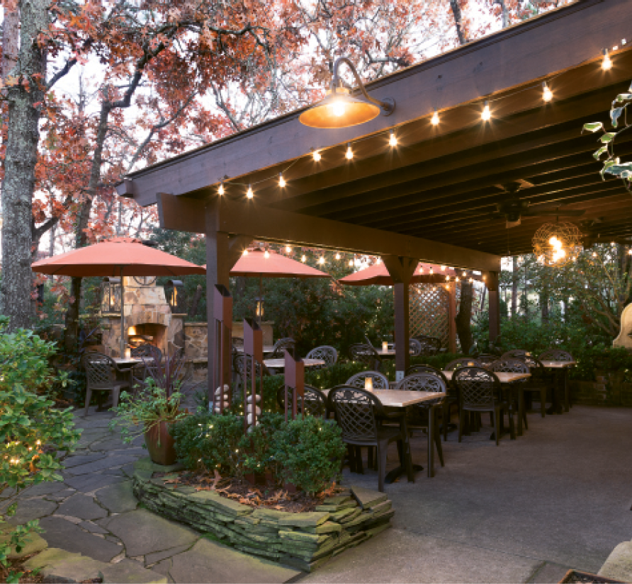 The outdoor patio is a favorite al fresco spot for fair weather dining
