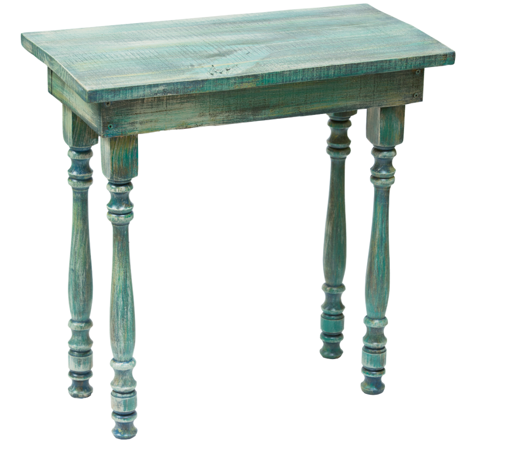 Rustic Table  With its mix of aqua and green brushstrokes, this artfully weathered table is the perfect piece to transition your home décor into spring.