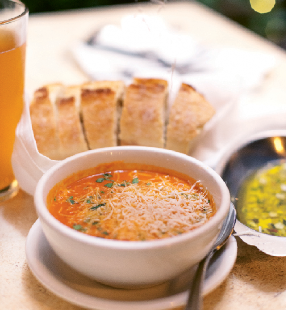 Sensational Starters: You can't beat Caffe Piccolo's warm bread, garlic and oil dipper and tomato basil soup. They're the perfect introductions to a savory meal.