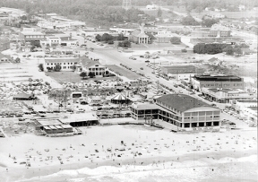 Old and New: The black-and-white photos show just one of many Myrtle Beach Pavilions on the oceanfront, the last of which was razed in 2006.
