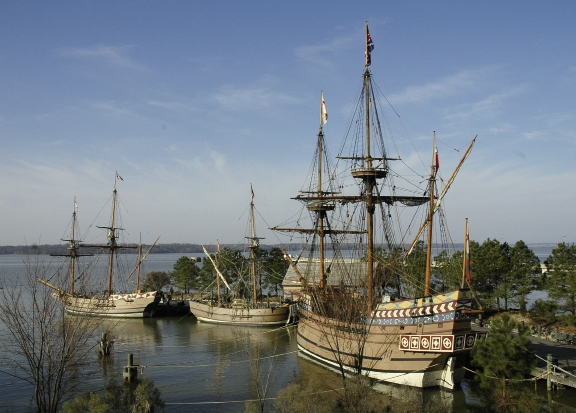 Jamestown Settlement features three full-size re-creations of ships that sailed in 1607.