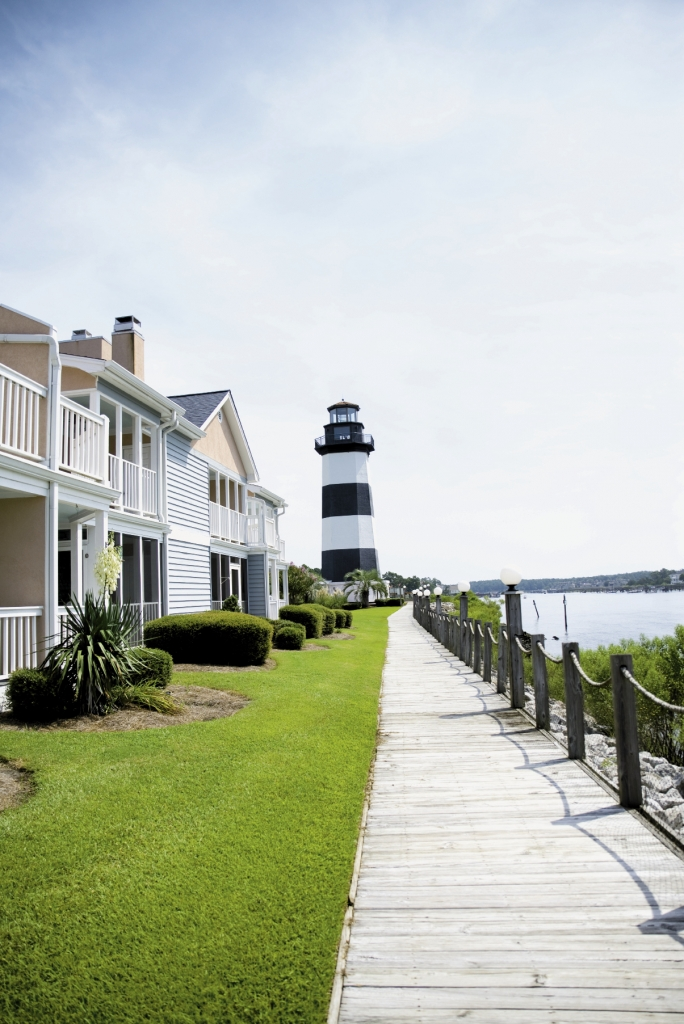 The lighthouse at Lightkeeper's Village welcomes residents and visitors alike to Little River.