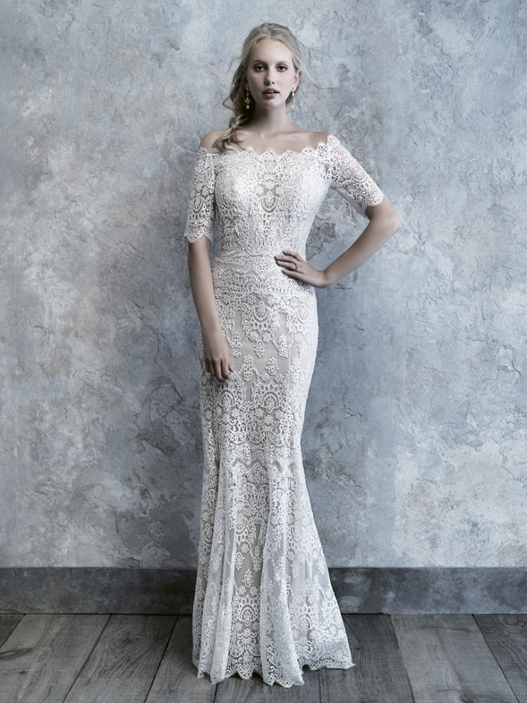Madison James The scalloped eyelash trim lace that edges the hem and neckline of this off-shoulder gown give it a romantic feel.  Fancy Frocks; $1,443