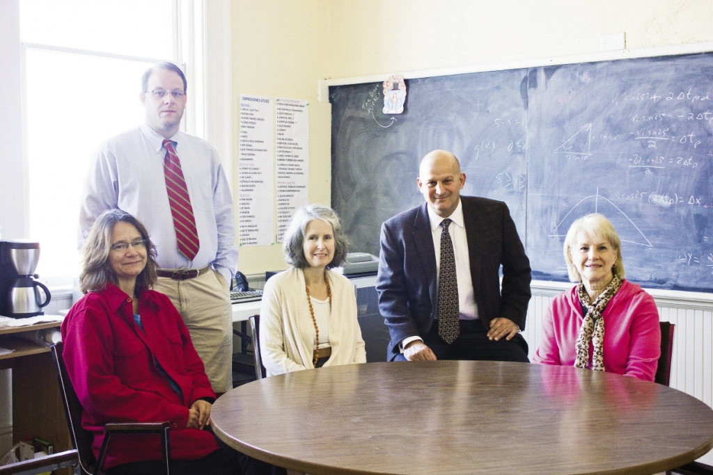 From left, teachers Dr. Michelle Neubauer, Dr. Wade Razzi, Dr. Laura Gates, Dr. Gary Gates, and the school's administrative assistant Judy Sweitzer.