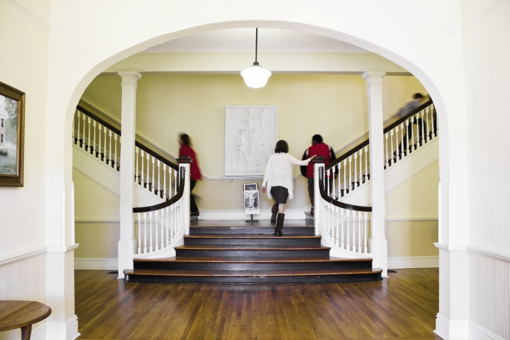 The beautifully restored interiors of the school show off its century-old charm.