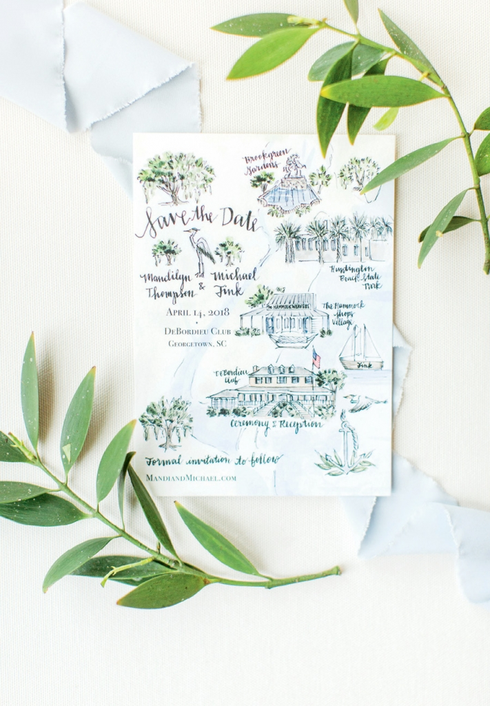 Hand in Hand: Mandi picked an artist from Etsy to hand draw and paint the Save the Dates. Each work of art revealed a whimsical map of Pawleys Island and Georgetown, the locations of the Big Day.