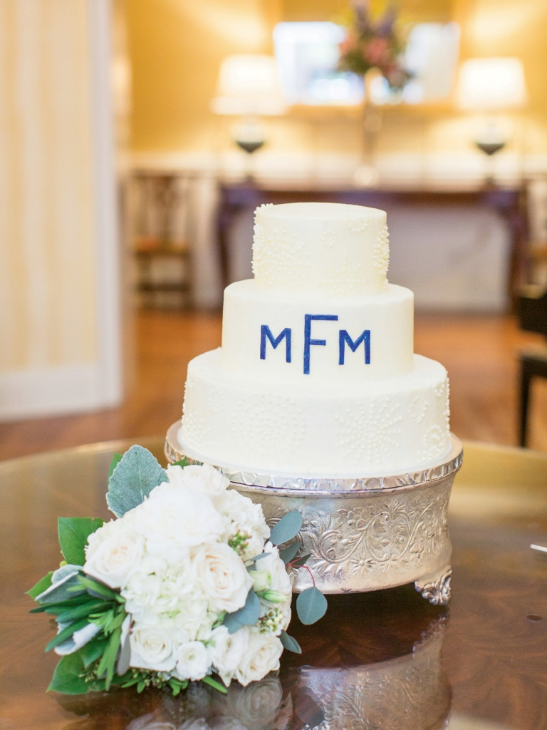 Sweet Treat: The Finks' three-layer wedding cake was a gift from the Whitleys, former owners of Crady's in Conway and former employer of Michael in his high school years.