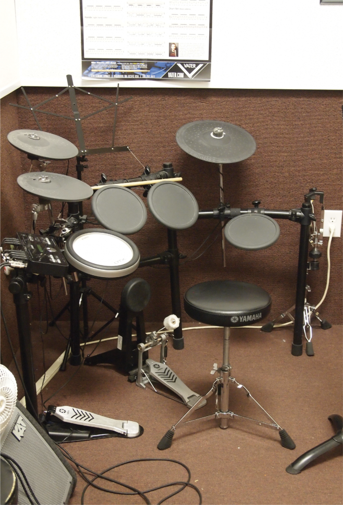 Just Beat It: An electronic drum kit awaits would-be drummers at Andy Owings School of Music.