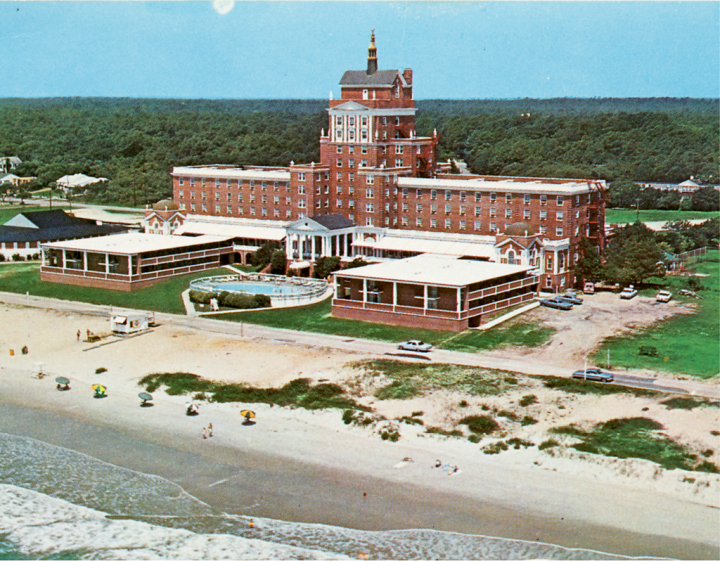 Two oceanside wings were added in the early 1960s, and the color changed after the hotel was sandblasted.