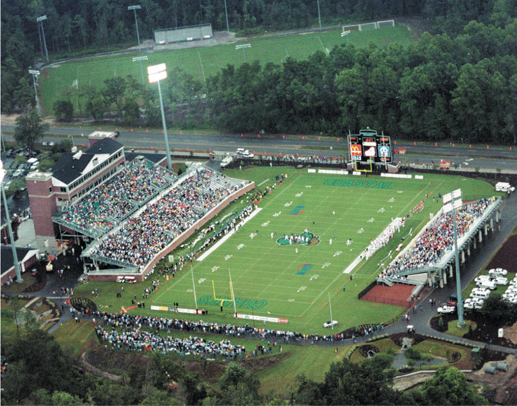 Brooks Stadium in 2003 at the first football game in school history.