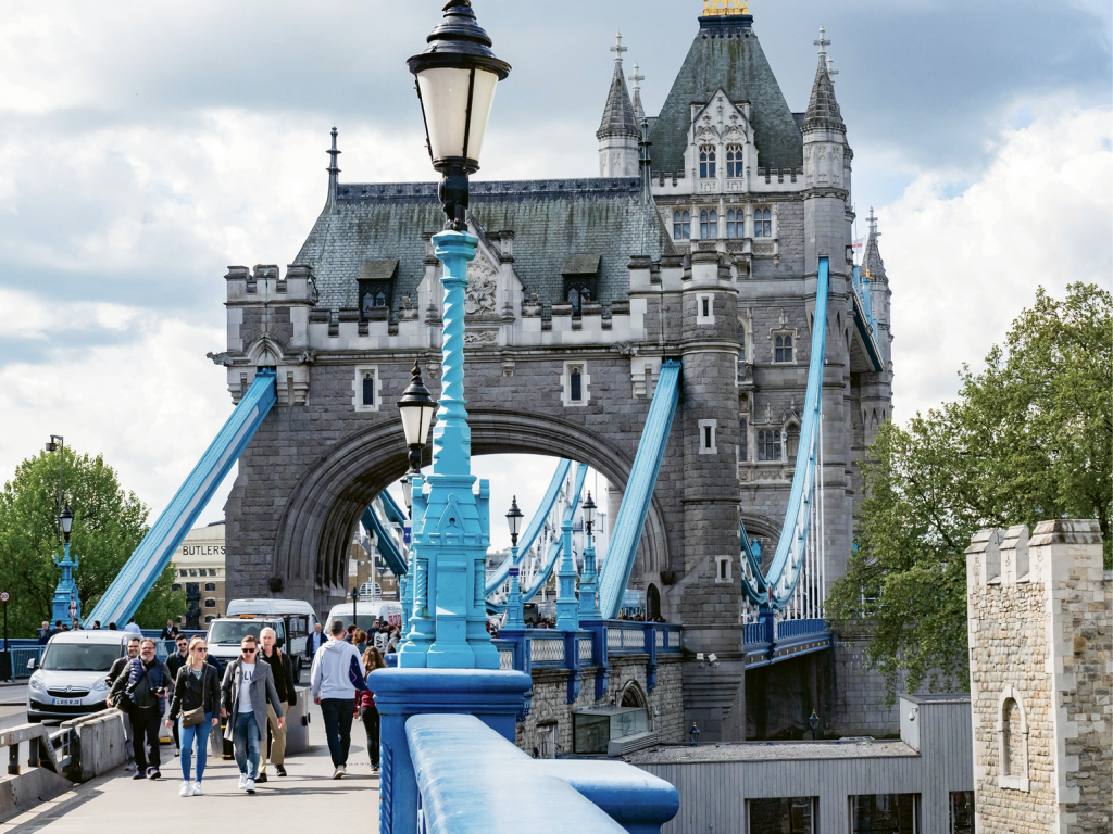 Following the River Thames, travelers can get close-up views of some of London's iconic buildings, including the cathedral-like Palace of Westminster (British Houses of Parliament) and the Tower Bridge.