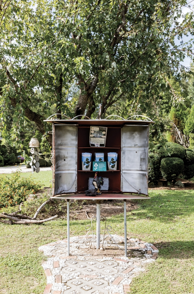 Welcome to the topiary world of Pearl Fryar, where feats of artistry and horticulture abound. Here, Fryar fashioned pieces of a garden gate and other scrap metal into a hinged kiosk (the doors can be swung closed) to house maps for visitors. It's estimated that about 10,000 people tour the green space annually.
