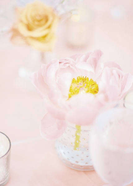 May Flowers: From Polina's bridal crown to table tops and bouquets, pastel petals painted a pretty picture.
