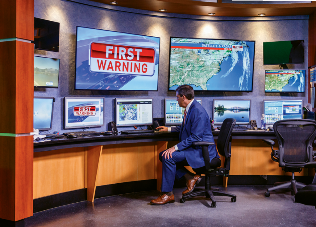 During Hurricane Florence, Piotrowski hunkered down at the news station to work 102 hours in seven days.