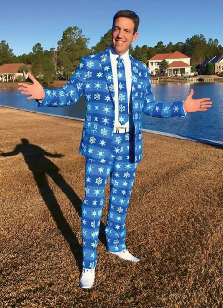 "Full of personality, Piotrowski wears this ""snow suit"" in local holiday parades."