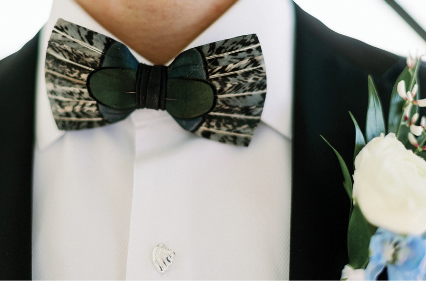 Sam's Brackish feather bowtie.