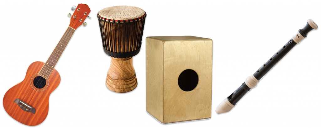 (Left to right) Ukuele, Djembe, Cajón, Recorder.