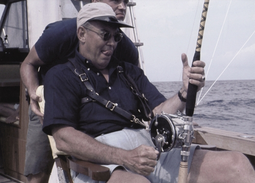"""Dinks """"hooked up"""" to another marlin with the same harness and rod and reel that Cappy had used to land hers."""