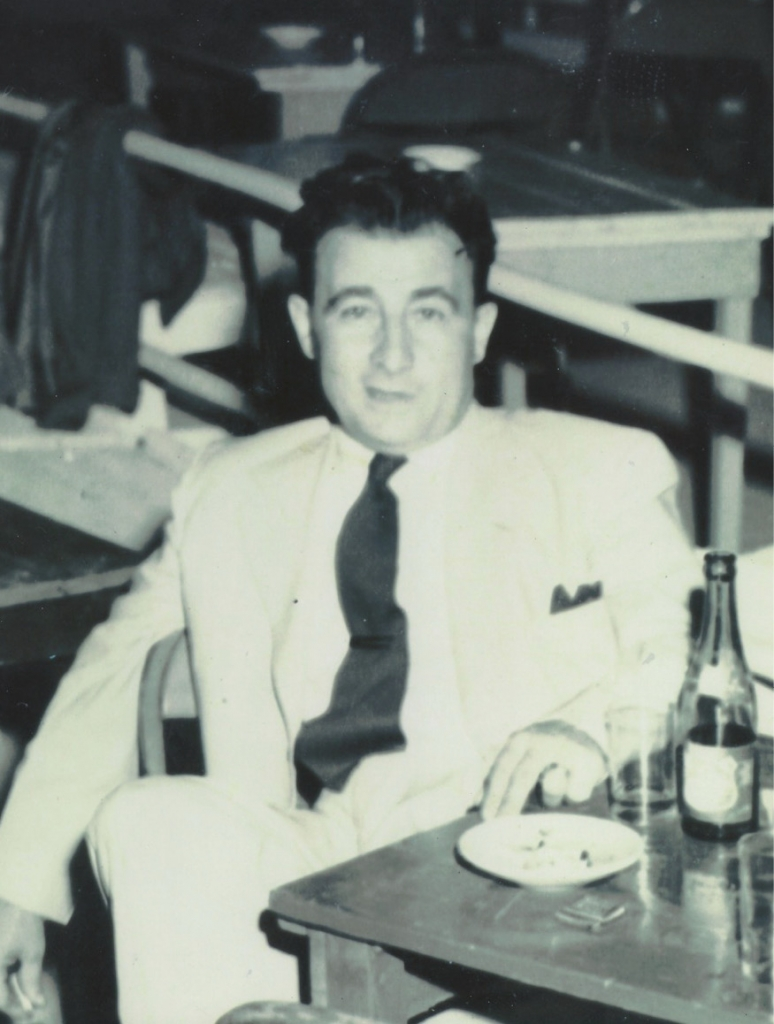 The writer's father,Tony, having a cocktail at the outdoor Marine Patio in the early 1950s during intermission of a big band concert.
