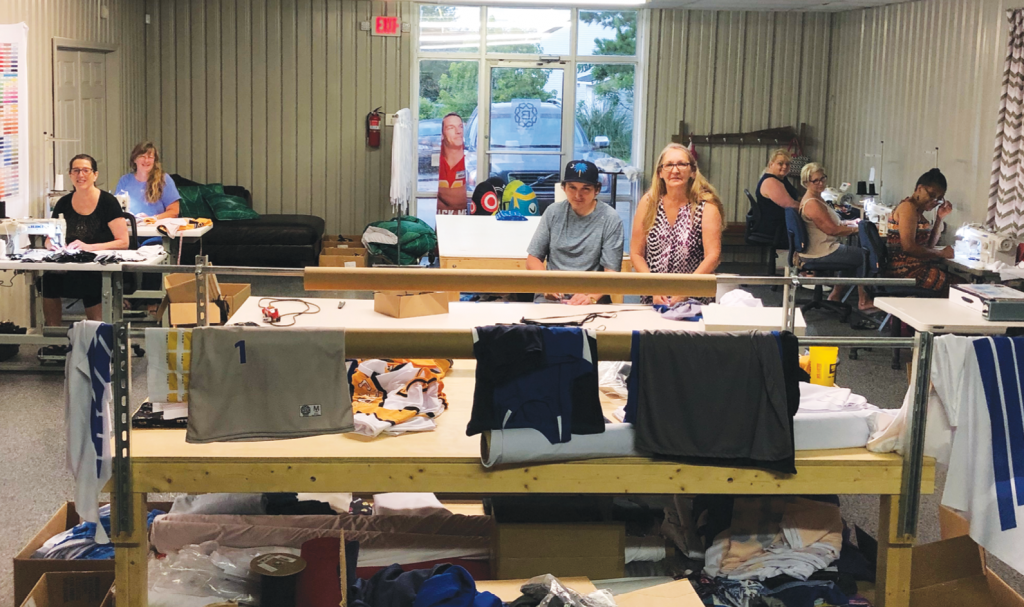 Sew Good: The sewing team at bFIVE40 is 20 strong, hired via Vocational Rehabilitation and Horry Georgetown Technical College.