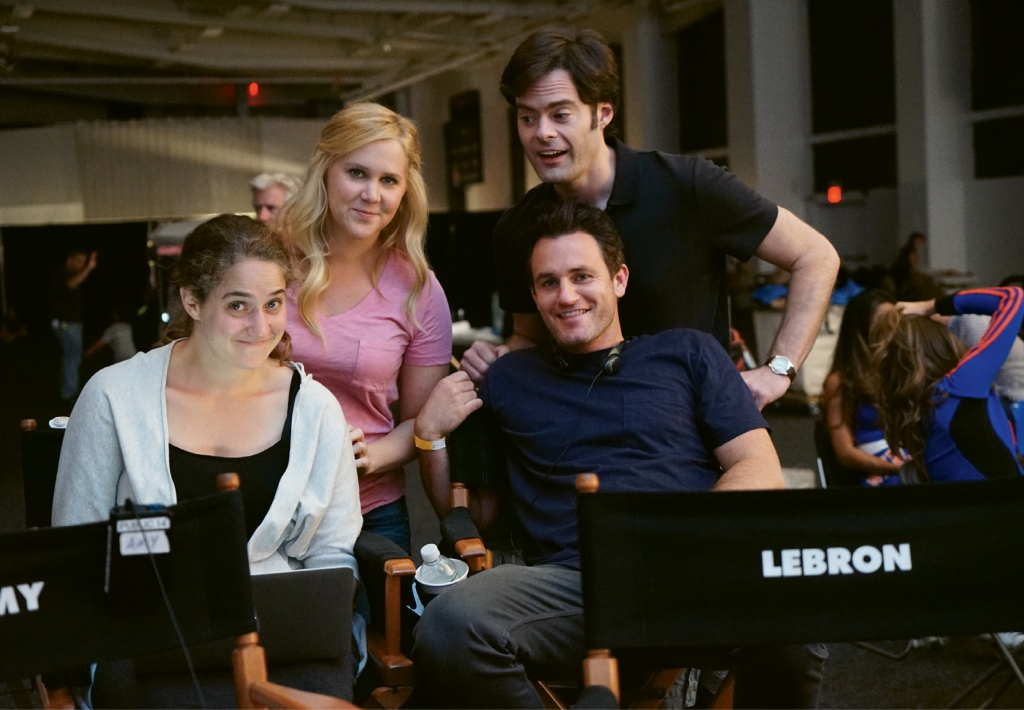 Kane with (from left) Kim Caramele, Amy Schumer and Bill Hader on the set of Trainwreck, throwing out jokes to Lebron James, who was on camera.