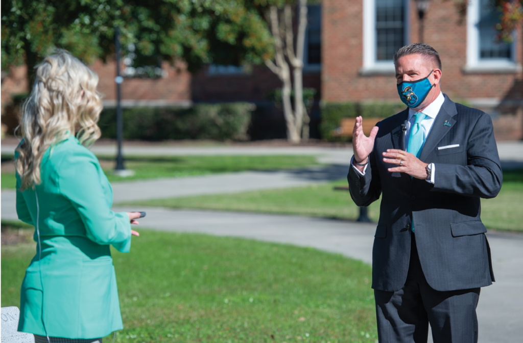 President-elect Benson on a preliminary visit to CCU in November 2020, which featured local news coverage.