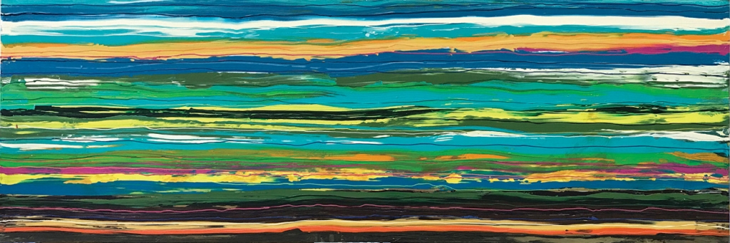 Between the Lines   The perfect color pop above a low sofa or buffet, this one-of-a-kind painting will anchor any color palette