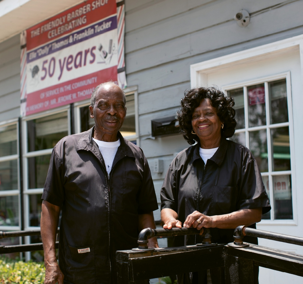 "Franklin Tucker and Ella Mae ""Dolly"" Thomas have been serving customers at Friendly Barbershop for nearly 113 years combined."