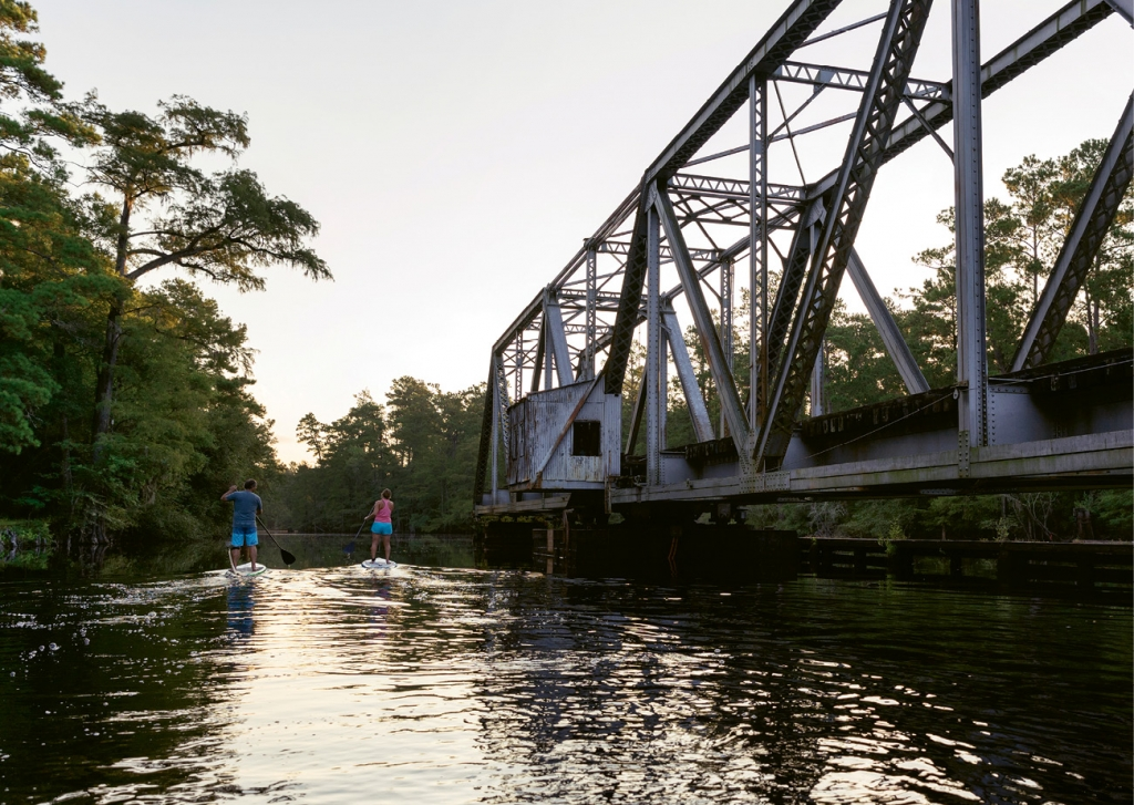 Paddling along the Waccmaw near the Carolina Southern Railroad swing bridge, which connects Conway to Myrtle Beach.