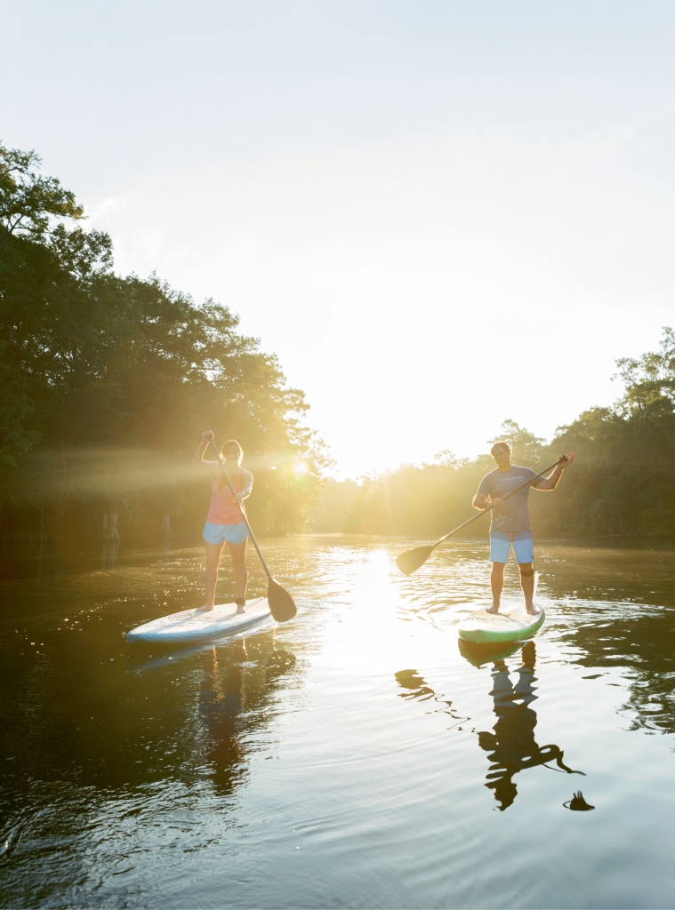 The fastest-growing watersport in the world, paddleboarding is a great way to reconnect with nature and spend quality time together outdoors. Cate and Todd Sutz of Island Inspired take time away from the shop to enjoy their creations and share their love of the sport.