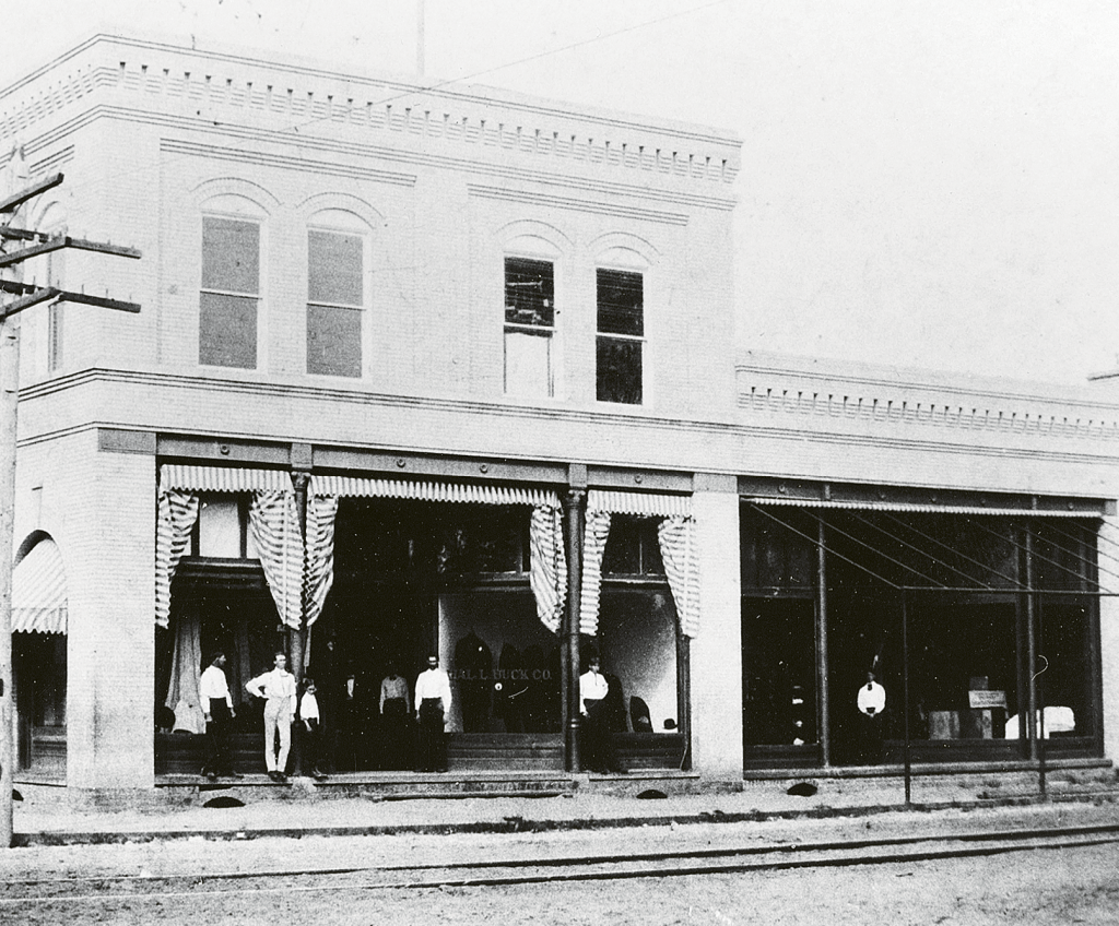 The Buck Building, built around 1900, on the corner of Main Street and Third Avenue.