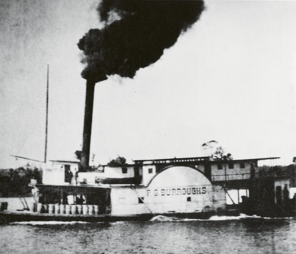 The side-wheel steamboat, F.G. Burroughs, which was the flagship of the Waccamaw Line of Steamers.