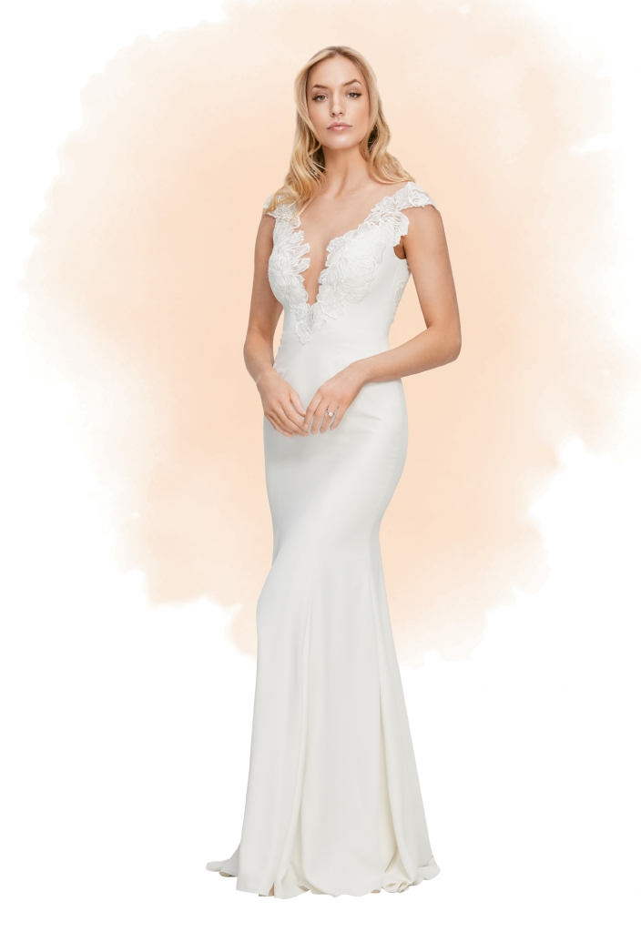 Wtoo Sexy in front, cool and classic in back—you might think this sleek Georgette style is a fantasy, but we promise the Fallon dress exists IRL.  The Little White Dress; $1,429