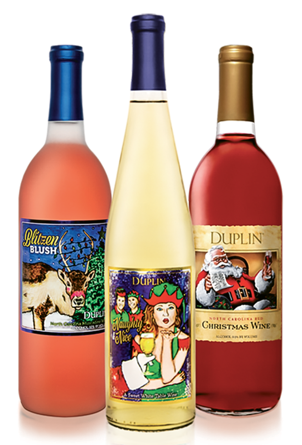 Holiday cheer - $30 for set of three. Duplin Winery, 4650 U.S. 17 S., North Myrtle Beach. (843) 663-1710