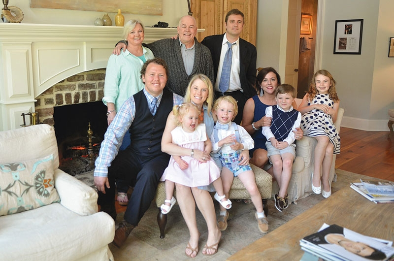 Calvin and Janis Gilmore with daughter Jordan and son Jeff and their families at home in Pawleys Island.