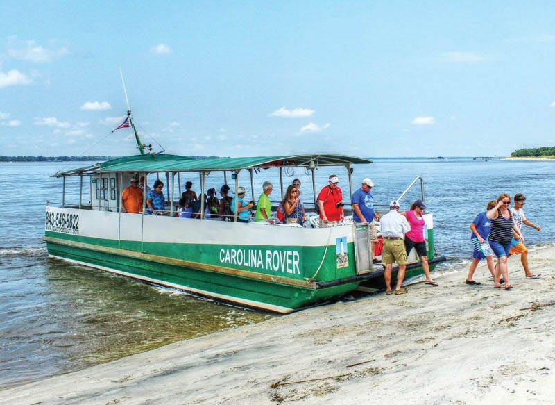 The Carolina Rover offers sea shell hunting and lighthouse tours from Georgetown to barrier islands.