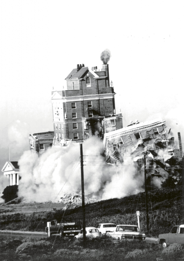 "Nearly 50 years after its construction, the Ocean Forest Hotel was imploded on Friday, September 13, 1974. In a 1974 article in The Sun News, then hotel sales manager Albert Oliphant said, ""plagued by rising costs, the 10-story hotel will be torn down and rebuilt because it is unable to meet the requirements of its insurers."""