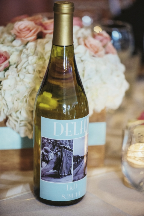 Custom wine bottles were designed with places the couple visited.