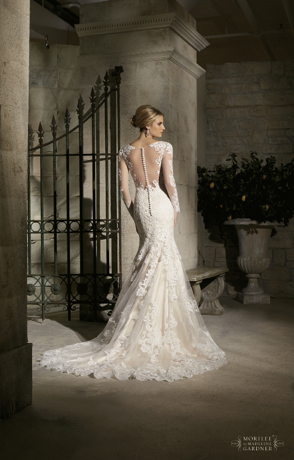 Mori LEE Majestic embroidered appliqués combine with Chantilly lace on net with wide hemline. Style 2725. Fancy Frocks, $1,288