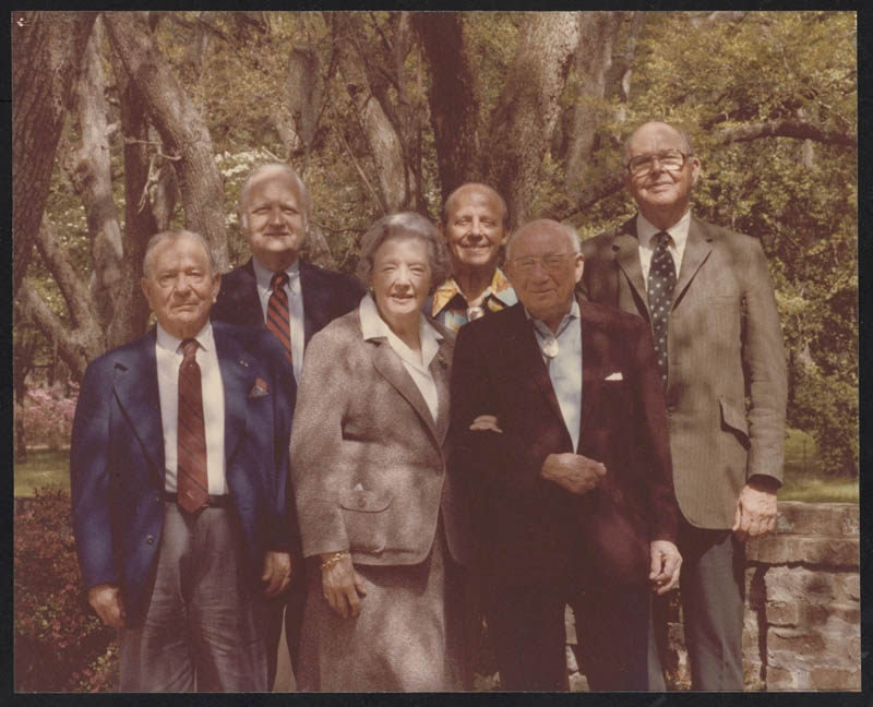 The Baruch Foundation trustees pose outside Bellefield Plantation in this circa 1984 photo. Left to right: General Harry Arthur, Leonard Scully, Ella Severin, Nelson Buhler, Leon Cohen and Craig Wall Sr.