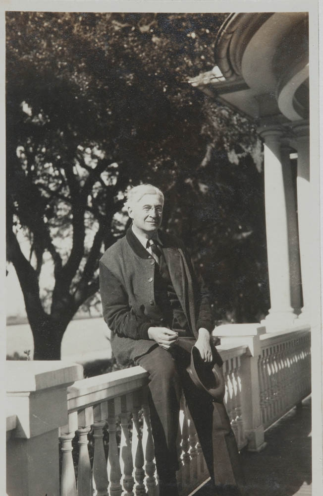 In a circa 1925 photo, Bernard Baruch poses on the porch rail of the Old Relick, which faces Winyah Bay.