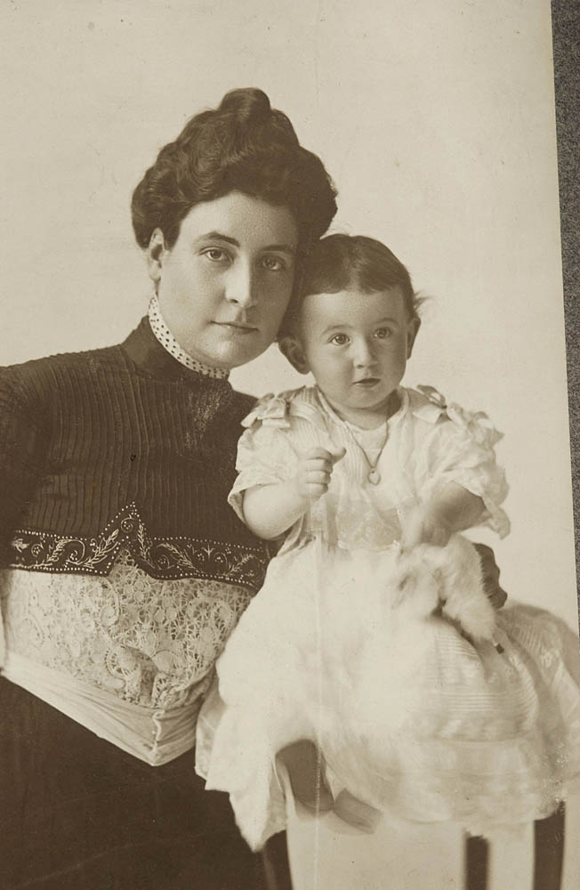 A shot from August 16, 1900, in which Bernard's wife, Annie Baruch, poses with their first-born child, Belle Wilcox Baruch. On November 1 of that same year, Belle became the youngest person admitted as a member of the Children of the American Revolution.
