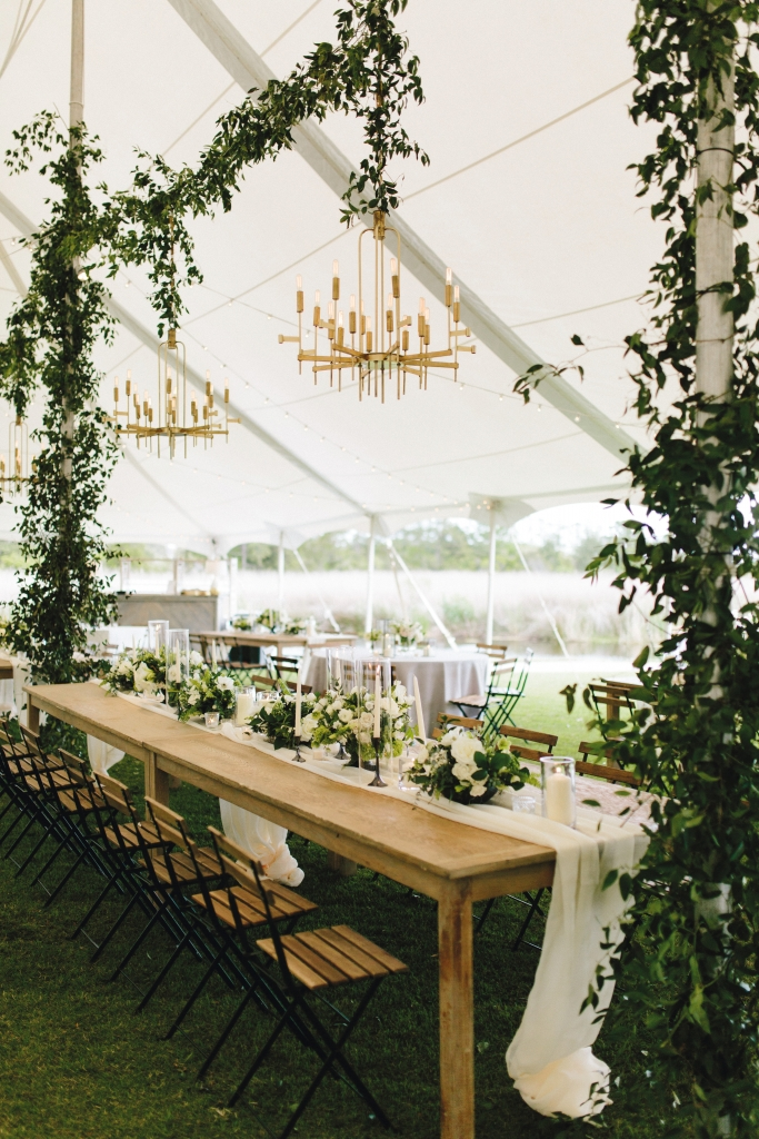 Her favorite elements were those magical modern-boho chandeliers and table settings.