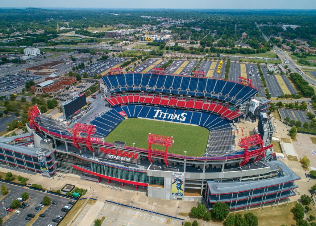 Located on the east bank of the Cumberland River, Nissan Stadium hosted its first Tennessee Titans NFL home game in 1999. It has a capacity of nearly 70,000.