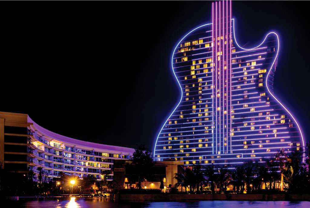 A sight to behold, The Seminole Hard Rock Casino is an adult playground offering Vegas-style gaming, poolside relaxation and dazzling nightlife.
