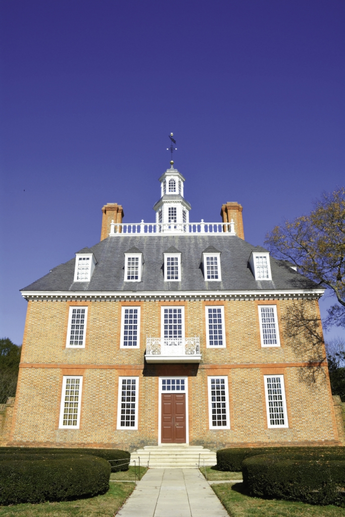 The Governor's Palace in Colonial Williamsburg, reconstructed in 1930 on its original site, was home to the Royal Governors of the Colony of Virginia.