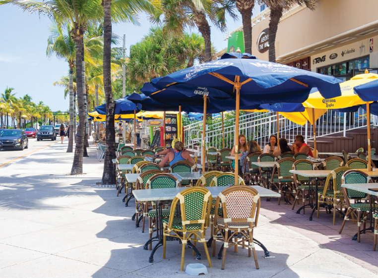 Sidewalk dining is found throughout a city that knows it's appeal is its weather and tropical ambiance.
