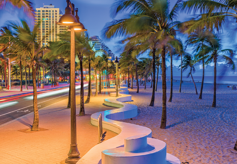 Night or day, Fort Lauderdale's beaches and well-designed walkways are pedestrian friendly with a flare for the artistic.