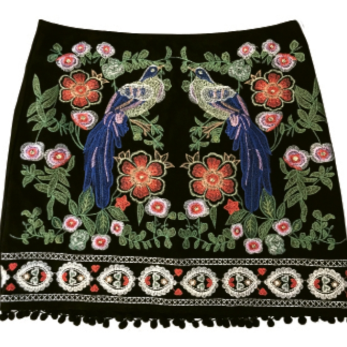 Crush your career goals in an embroidered mini skirt.